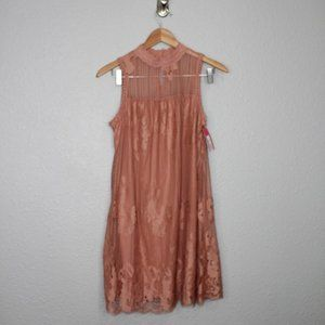 Xhilaration Mauve Lace High Neck Mini Dress sz XS